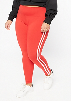 Plus Red Double Side Striped Super Soft Leggings