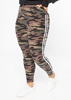 Plus Camo Print Double Side Striped Super Soft Leggings