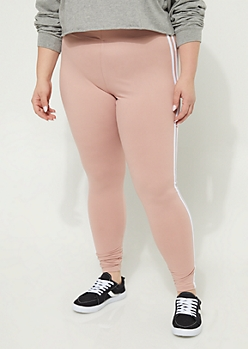 Plus Light Pink High Waisted Varsity Striped Leggings