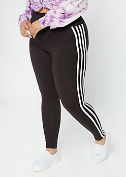 Plus Black Side Striped Wide Waistband Leggings