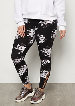 Plus Black Floral Print Super Soft Lattice High Waisted Leggings