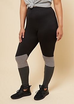 Plus Black Colorblock High Waisted Super Soft Leggings