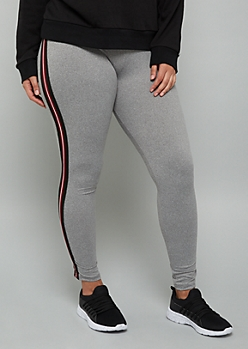 Plus Gray Side Striped High Waisted Leggings