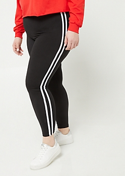 Plus Black High Waisted Varsity Striped Leggings