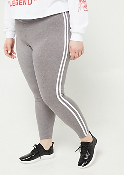 Plus Heather Gray High Waisted Varsity Striped Leggings