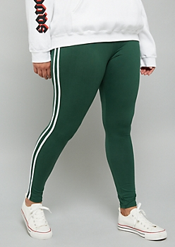 Plus Green High Waisted Super Soft Side Striped Leggings