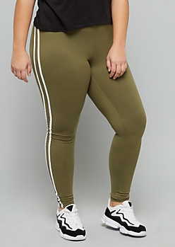 Plus Light Olive High Waisted Super Soft Side Striped Leggings