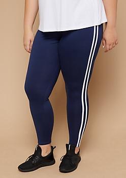 Plus Navy High Waisted Varsity Striped Super Soft Leggings