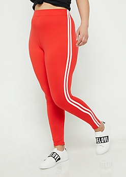 Plus Red High Waisted Varsity Striped Leggings