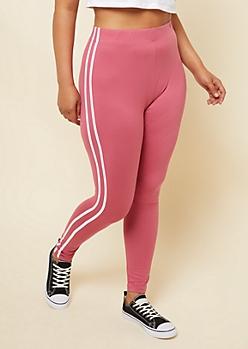 Plus Pink High Waisted Varsity Striped Super Soft Leggings