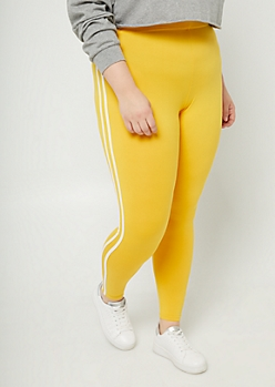 Plus Dark Yellow High Waisted Varsity Leggings