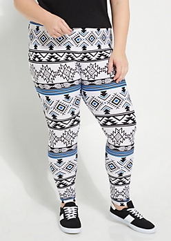 Plus Aztec Print Soft Brushed Leggings