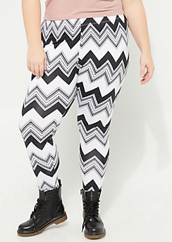 Plus Black & White Chevron Soft Brushed Leggings