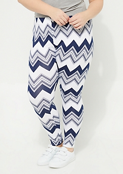 Plus Navy Chevron Soft Brushed Leggings