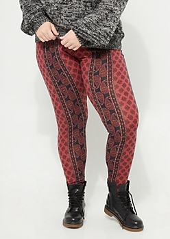 Plus Pink Paisley Floral Soft Brushed Leggings
