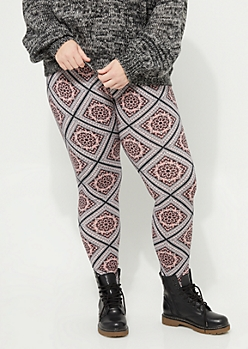 Plus Pink Floral Medallion Soft Brushed Leggings