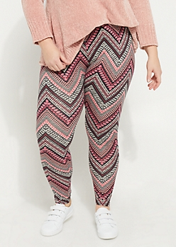 Plus Black Soft Brushed Chevron Printed Leggings