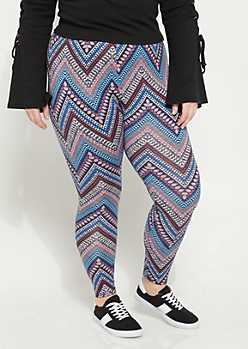 Plus Navy Soft Brushed Chevron Printed Leggings