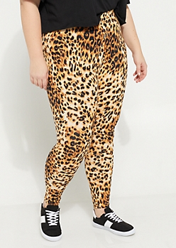 Plus Leopard Print Soft Brushed Leggings
