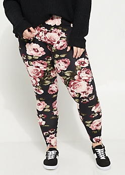 Plus Purple Rose Soft Brushed Leggings