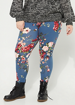 Plus Navy Floral Soft Brushed Leggings