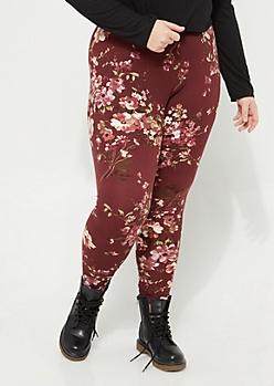 Plus Burgundy Floral Soft Brushed Leggings