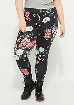 Plus Pink & Olive Floral Soft Brushed Leggings