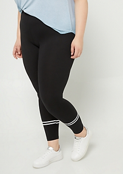 Plus Black High Waisted Athletic Stripe Leggings