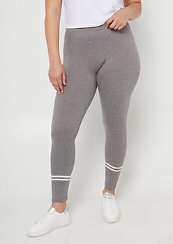 Plus Gray High Waisted Athletic Stripe Leggings