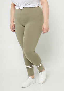 Plus Olive High Waisted Athletic Stripe Leggings
