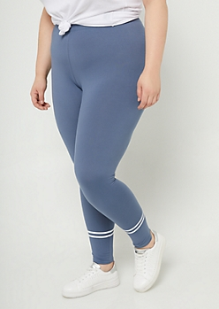 Plus Navy High Waisted Athletic Stripe Leggings