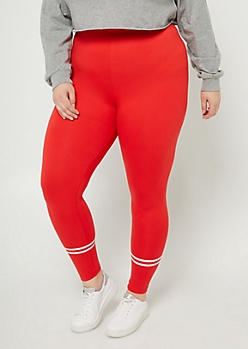 Plus Red High Waisted Athletic Stripe Leggings
