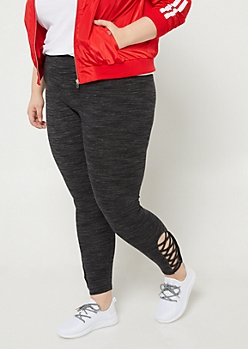 Plus Black Space Dye High Waisted Leggings