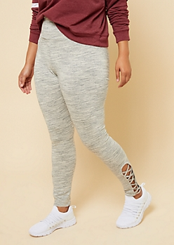 Plus Gray Space Dye High Waisted Lattice Side Leggings