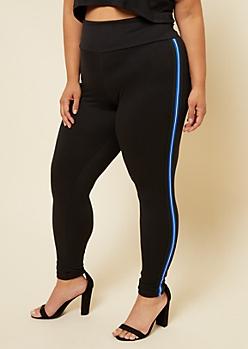 Plus Blue Varsity Striped Side Tape High Waisted Leggings