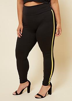 Plus Yellow Varsity Striped Side Tape High Waisted Leggings