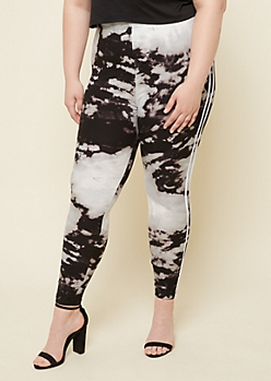 Plus Black Tie Dye High Waisted Super Soft Stripe Leggings