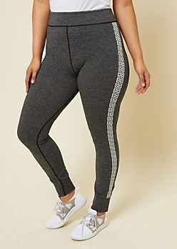 Plus Heather Gray Chevron Striped Active Leggings