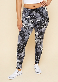 Plus Black Palm Print Mid Rise Leggings