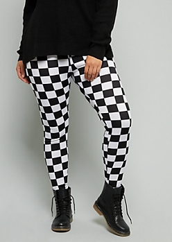 Plus White Checkered Print High Waisted Ponte Leggings