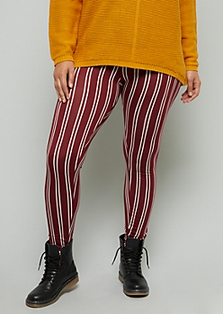Plus Burgundy Striped High Waisted Leggings