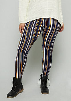 Plus Navy Striped High Waisted Leggings