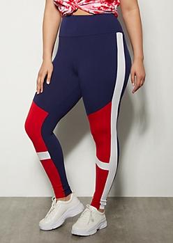 Plus Red Colorblock Super Soft Leggings
