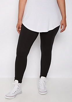 Plus Black High Waist Soft Knit Leggings