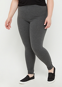 Plus Charcoal Gray High Waisted Leggings