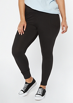 Plus Black Super Soft Cell Phone Pocket Leggings