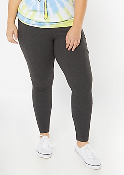 Plus Heather Gray Super Soft Cell Phone Pocket Leggings
