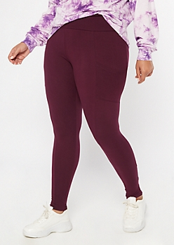 Plus Purple Super Soft Cell Phone Pocket Leggings