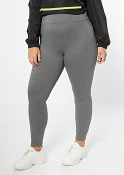 Plus Gray Super Soft Cell Phone Pocket Leggings