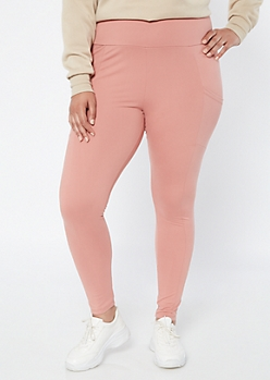Plus Pink Super Soft Cell Phone Pocket Leggings